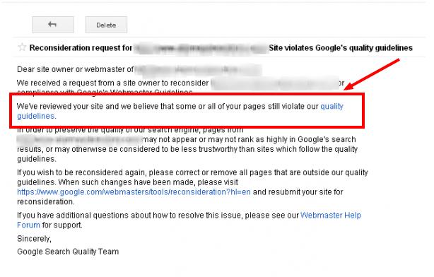 google reconsideration reply